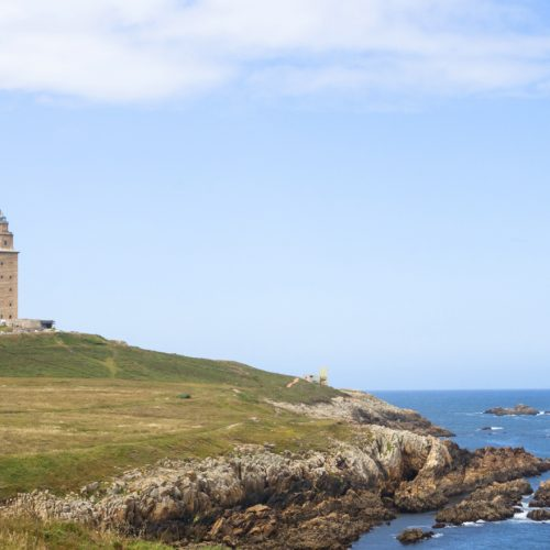 Lighthouse in the top of Hercules tower, La CoruÒa, Galicia, Spain.