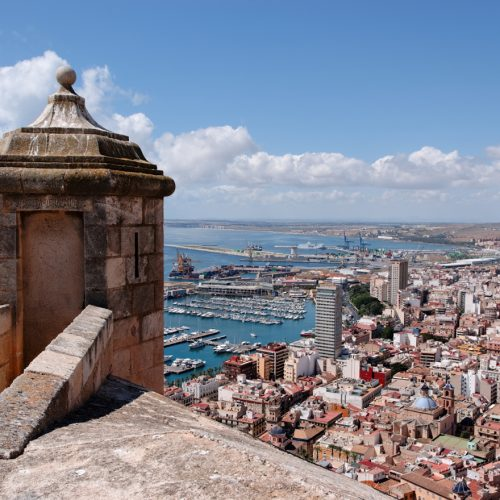 Alicante from the Castillo de Santa Barbara. Converted from RAW